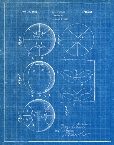 An image of a(n) Basket Ball 1929 - Patent Art Print - Blueprint.
