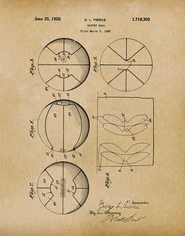 An image of a(n) Basket Ball 1929 - Patent Art Print - Parchment.
