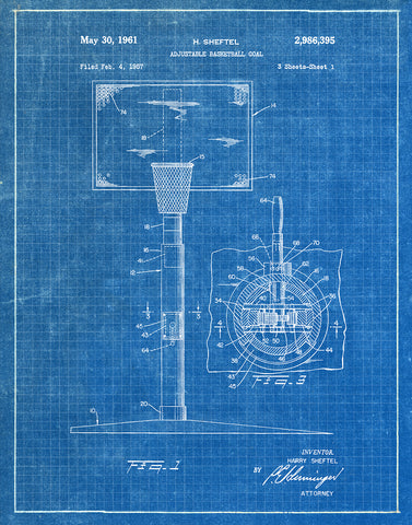 An image of a(n) Basket Ball Goal - Patent Art Print - Blueprint.