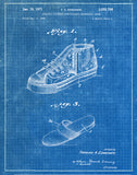 An image of a(n) Basket Ball Shoes 1971 - Patent Art Print - Blueprint.