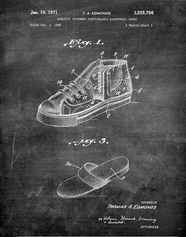 An image of a(n) Basket Ball Shoes 1971 - Patent Art Print - Chalkboard.