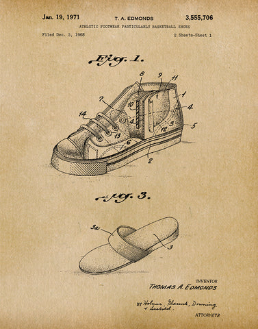 An image of a(n) Basket Ball Shoes 1971 - Patent Art Print - Parchment.