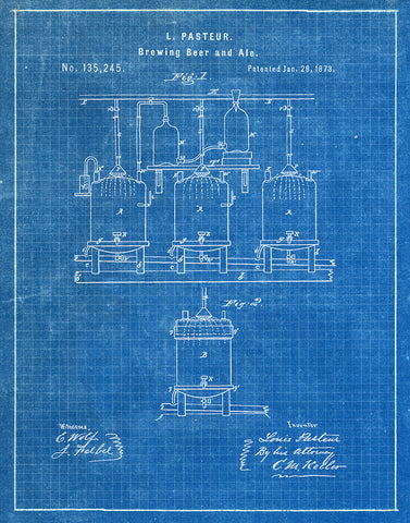An image of a(n) Brewing Beer 1873 - Patent Art Print - Blueprint.