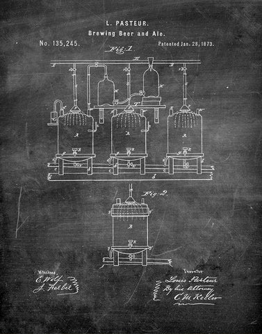 An image of a(n) Brewing Beer 1873 - Patent Art Print - Chalkboard.