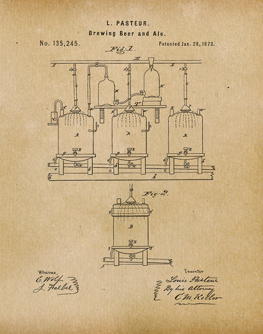 An image of a(n) Brewing Beer 1873 - Patent Art Print - Parchment.