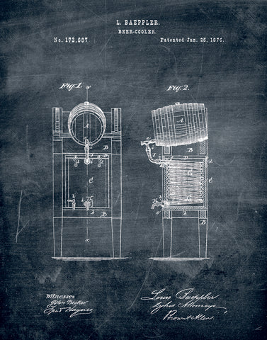 An image of a(n) Beer Cooler 1876 - Patent Art Print - Chalkboard.