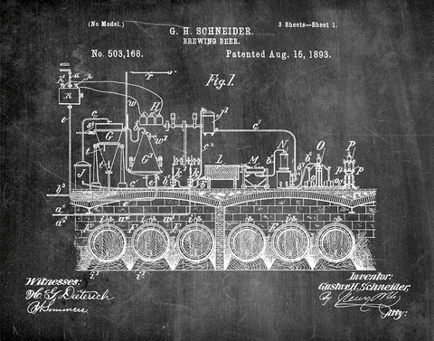 An image of a(n) Brewing Beer 1893 - Patent Art Print - Chalkboard.