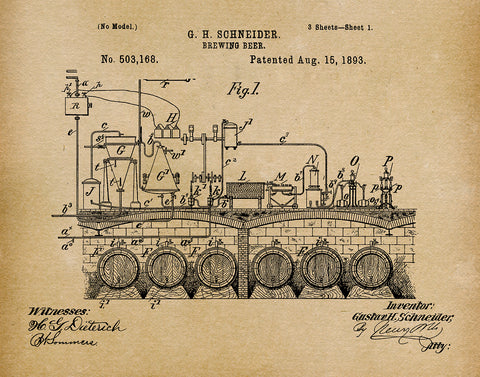 An image of a(n) Brewing Beer 1893 - Patent Art Print - Parchment.