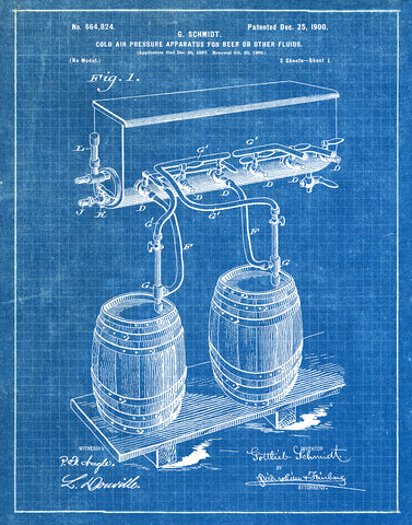 An image of a(n) Air Pressure for Beer 1900 - Patent Art Print - Blueprint.