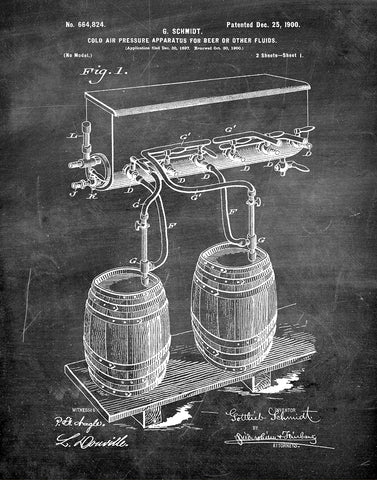 An image of a(n) Air Pressure for Beer 1900 - Patent Art Print - Chalkboard.