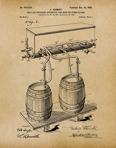 An image of a(n) Air Pressure for Beer 1900 - Patent Art Print - Parchment.