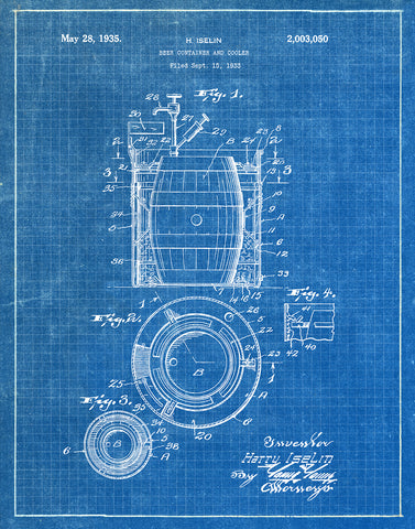 An image of a(n) Beer Container 1933 - Patent Art Print - Blueprint.