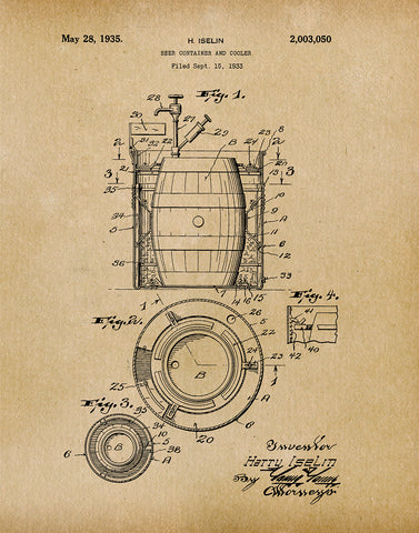 An image of a(n) Beer Container 1933 - Patent Art Print - Parchment.