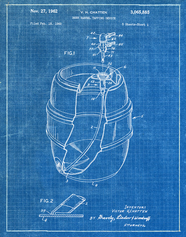 An image of a(n) Beer Tapping 1960 - Patent Art Print - Blueprint.