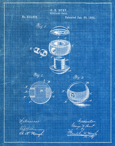 An image of a(n) Billiard Ball 1894 - Patent Art Print - Blueprint.