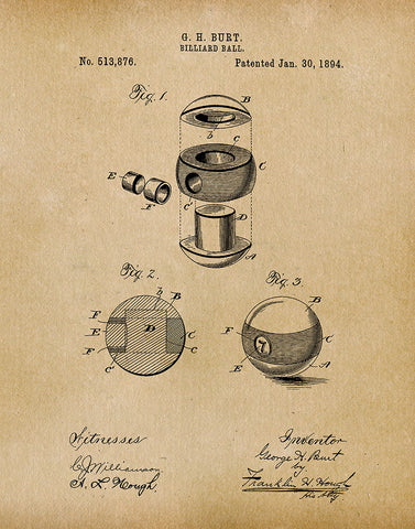 An image of a(n) Billiard Ball 1894 - Patent Art Print - Parchment.