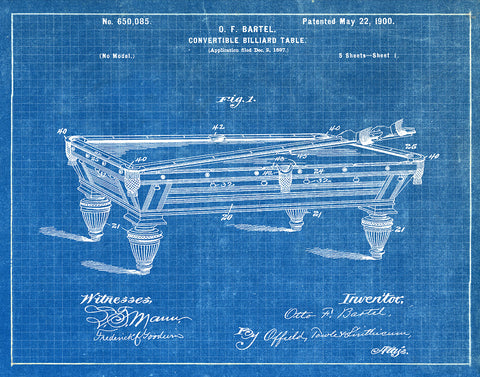 An image of a(n) Billiard Table 1900 - Patent Art Print - Blueprint.