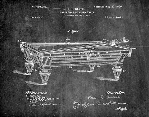 An image of a(n) Billiard Table 1900 - Patent Art Print - Chalkboard.
