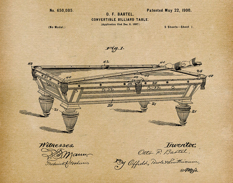 An image of a(n) Billiard Table 1900 - Patent Art Print - Parchment.