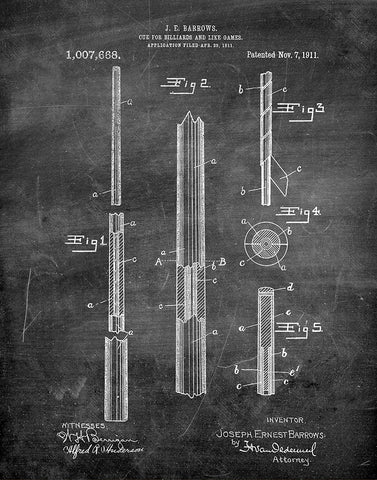 An image of a(n) Pool Cue 1911 - Patent Art Print - Chalkboard.