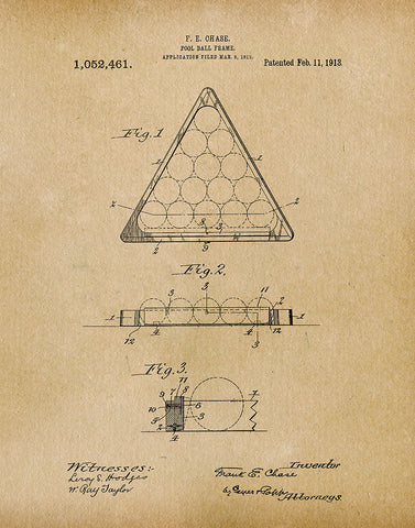An image of a(n) Pool Ball Frame 1913 - Patent Art Print - Parchment.