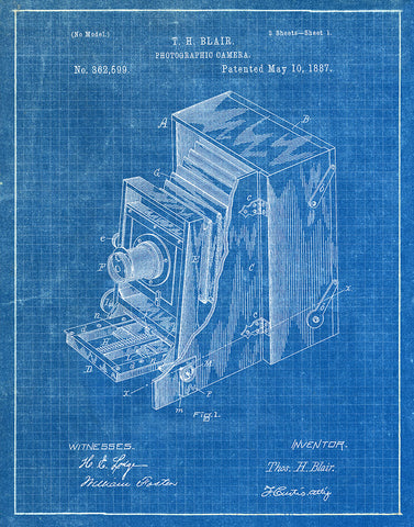 An image of a(n) Camera Blair 1887 - Patent Art Print - Blueprint.