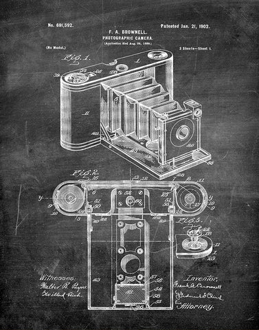 An image of a(n) Camera Brownell 1902 - Patent Art Print - Chalkboard.