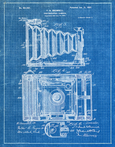 An image of a(n) Camera Brownell Sheet 2 1902 - Patent Art Print - Blueprint.