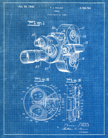 An image of a(n) Camera Walsh 1940 - Patent Art Print - Blueprint.
