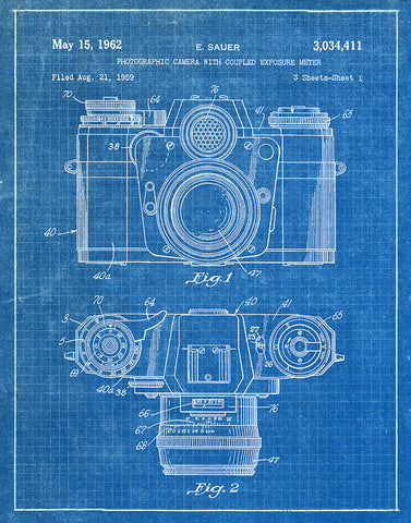 An image of a(n) Camera Sauer 1962 - Patent Art Print - Blueprint.