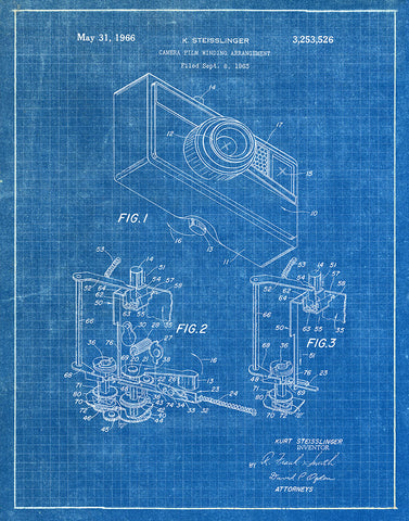 An image of a(n) Camera Winding 1966 - Patent Art Print - Blueprint.