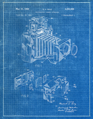 An image of a(n) Camera Bing 1966 - Patent Art Print - Blueprint.