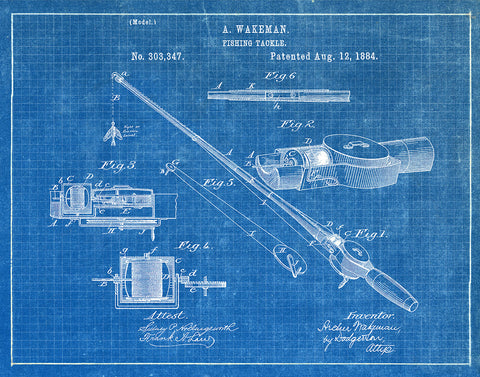 An image of a(n) Fishing Tackle 1884 - Patent Art Print - Blueprint.