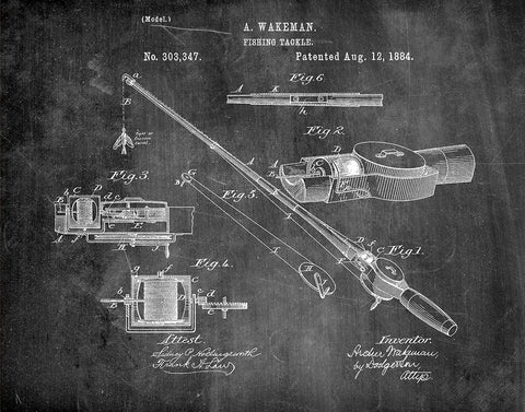An image of a(n) Fishing Tackle 1884 - Patent Art Print - Chalkboard.
