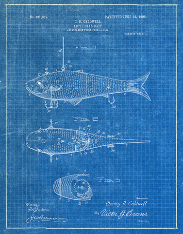 Fishing bait 1908 patent art print blueprint fresh prints of ct an image of an fishing bait 1908 patent art print blueprint malvernweather Choice Image