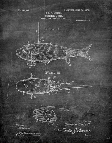 An image of a(n) Fishing Bait 1908 - Patent Art Print - Chalkboard.