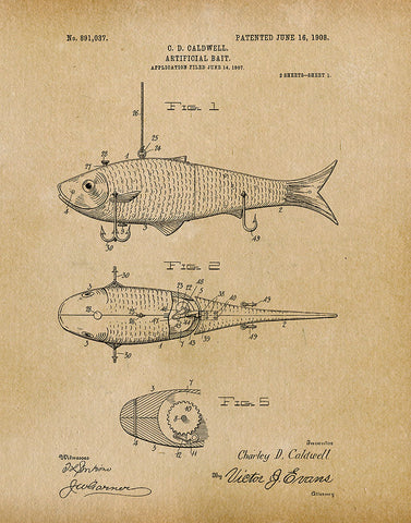 An image of a(n) Fishing Bait 1908 - Patent Art Print - Parchment.