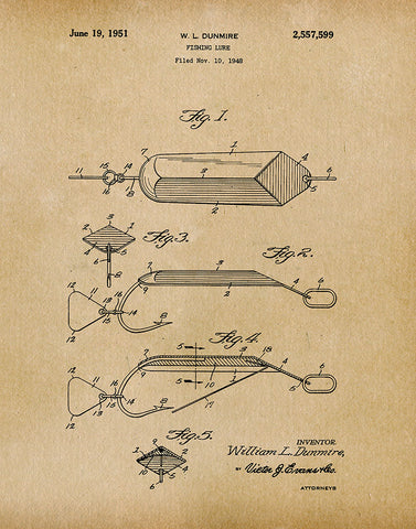 An image of a(n) Fishing Lure 1951 - Patent Art Print - Parchment.