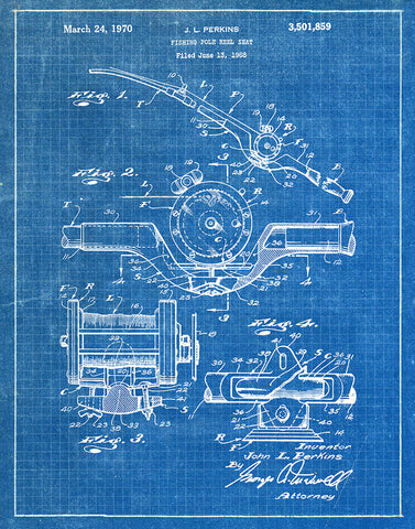 An image of a(n) Fishing Pole Reel 1970 - Patent Art Print - Blueprint.