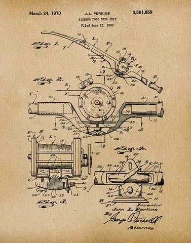 An image of a(n) Fishing Pole Reel 1970 - Patent Art Print - Parchment.