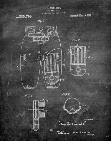An image of a(n) Football Pants 1917 - Patent Art Print - Chalkboard.