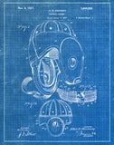 An image of a(n) Football Helmet 1927 - Patent Art Print - Blueprint.