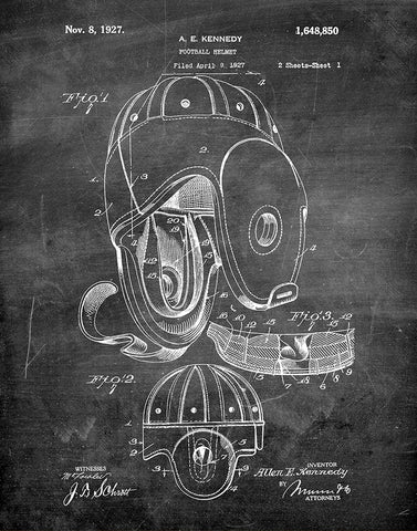 An image of a(n) Football Helmet 1927 - Patent Art Print - Chalkboard.