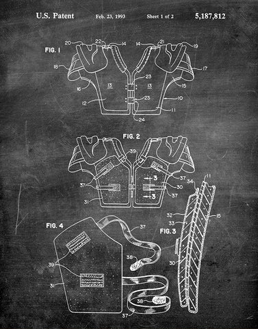 An image of a(n) Football Pads 1993 - Patent Art Print - Chalkboard.