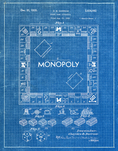 An image of a(n) Monopoly Game 1935 - Patent Art Print - Blueprint.