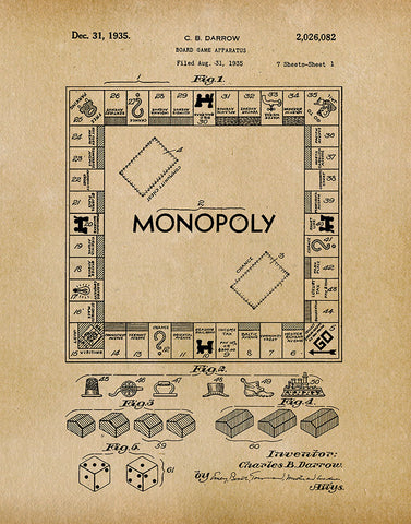 An image of a(n) Monopoly Game 1935 - Patent Art Print - Parchment.