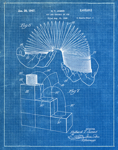 An image of a(n) Slinky 1947 - Patent Art Print - Blueprint.