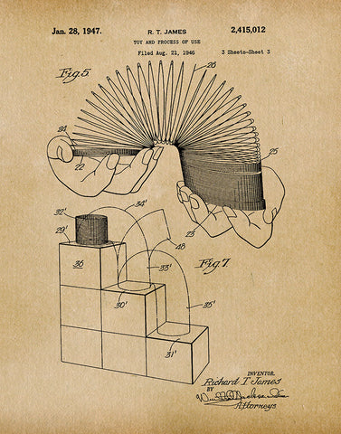 An image of a(n) Slinky 1947 - Patent Art Print - Parchment.