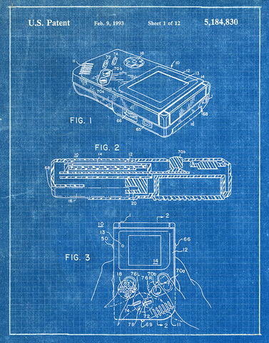 An image of a(n) Nintendo Gameboy 1993 - Patent Art Print - Blueprint.