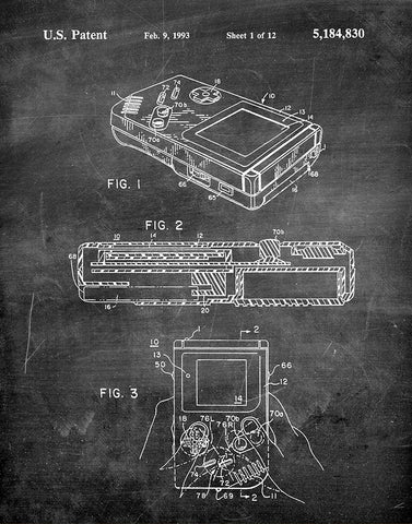 An image of a(n) Nintendo Gameboy 1993 - Patent Art Print - Chalkboard.